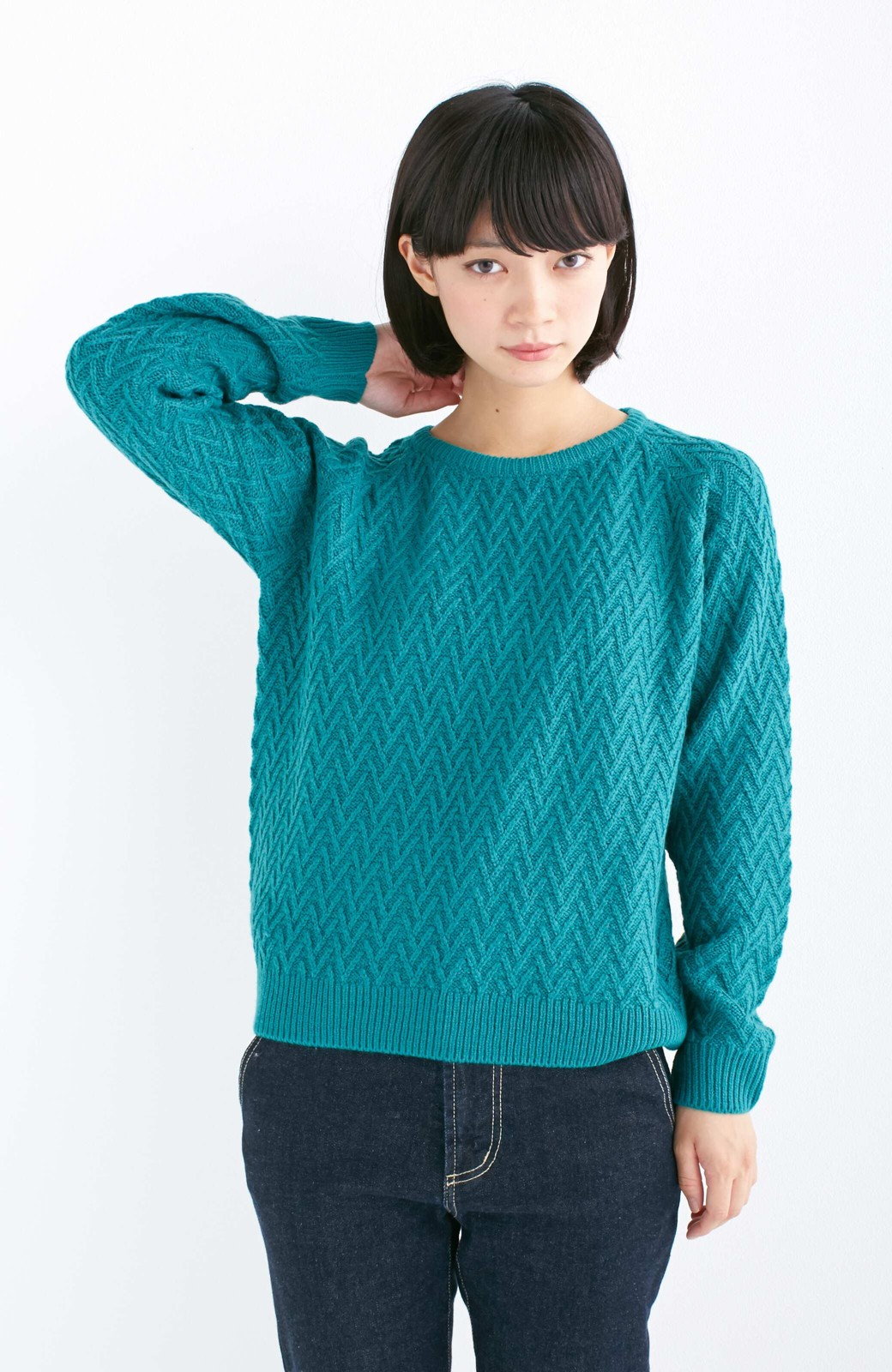 nusy お家で洗えてきれいがつづく V柄編みクルーネックニット <グリーン>の商品写真8