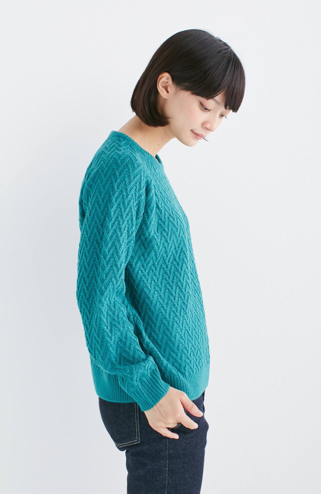 nusy お家で洗えてきれいがつづく V柄編みクルーネックニット <グリーン>の商品写真9