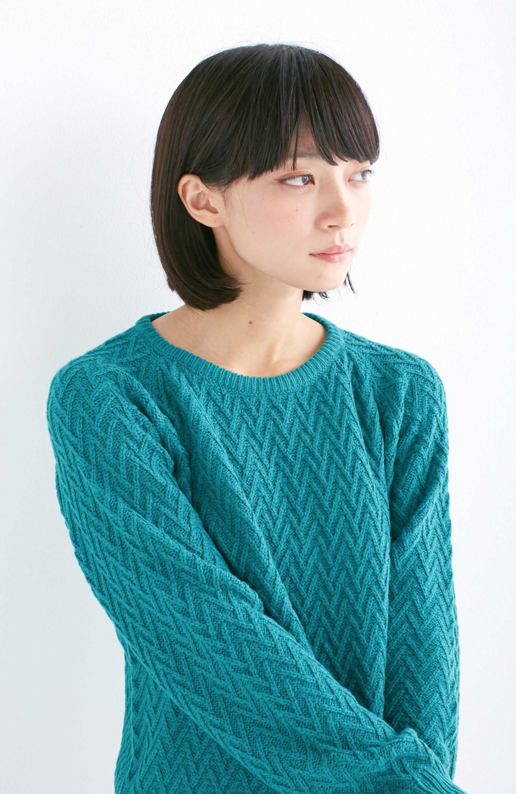 nusy お家で洗えてきれいがつづく V柄編みクルーネックニット <グリーン>の商品写真11