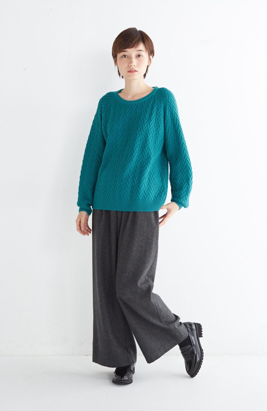 nusy お家で洗えてきれいがつづく V柄編みクルーネックニット <グリーン>の商品写真4