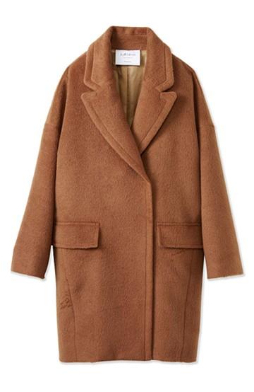 エムトロワ 大きめ衿&ビッグシルエットで華奢見せしたい、ウール混フェミニンコート <キャメル>の商品写真