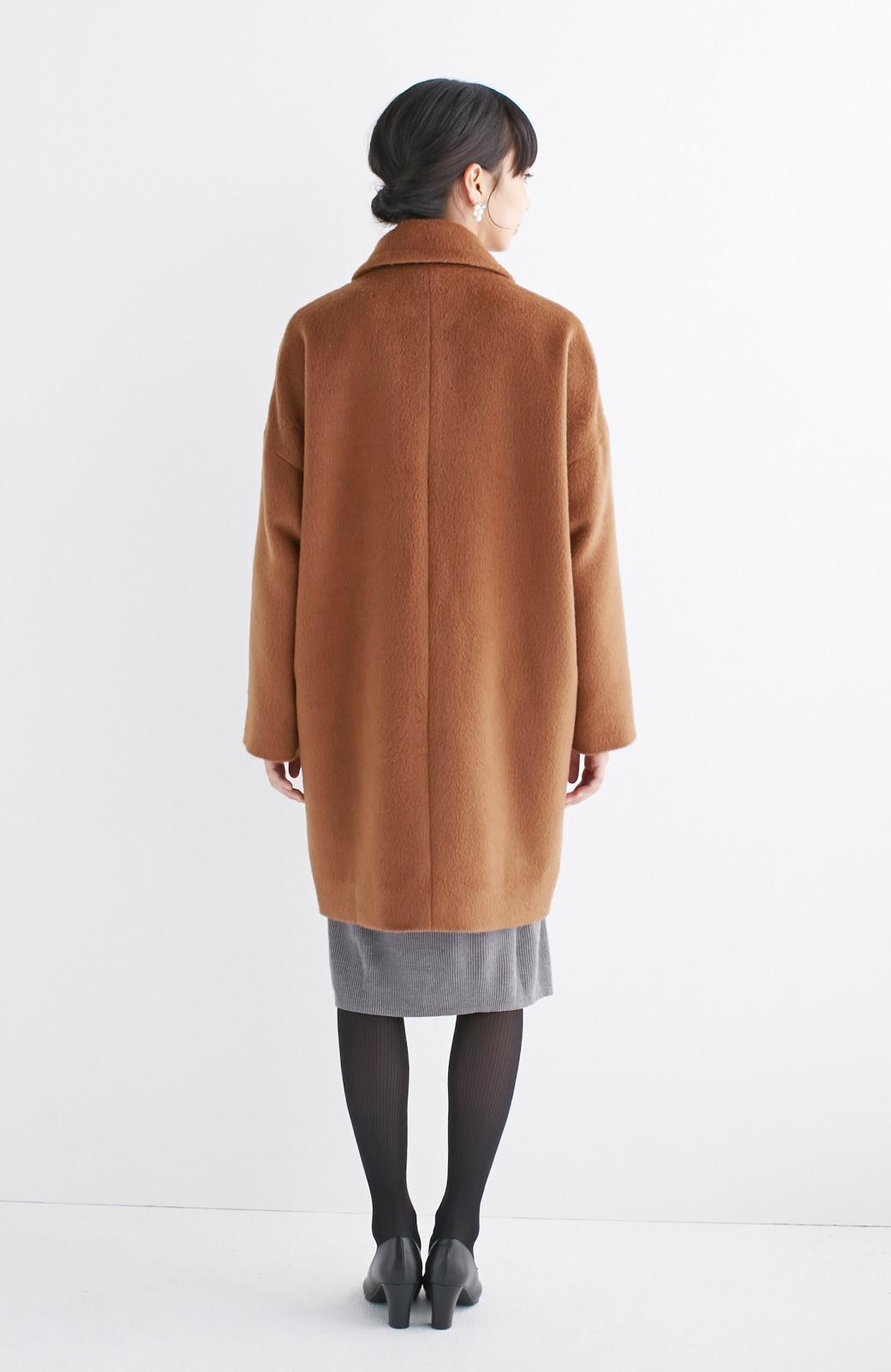 エムトロワ 大きめ衿&ビッグシルエットで華奢見せしたい、ウール混フェミニンコート <キャメル>の商品写真12