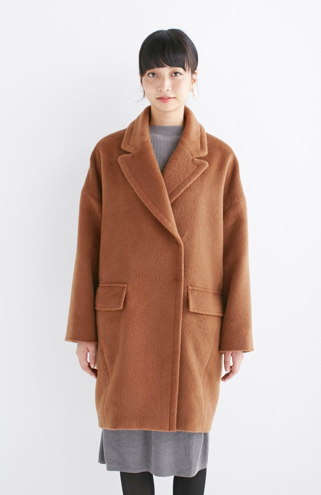 エムトロワ 大きめ衿&ビッグシルエットで華奢見せしたい、ウール混フェミニンコート <キャメル>の商品写真13