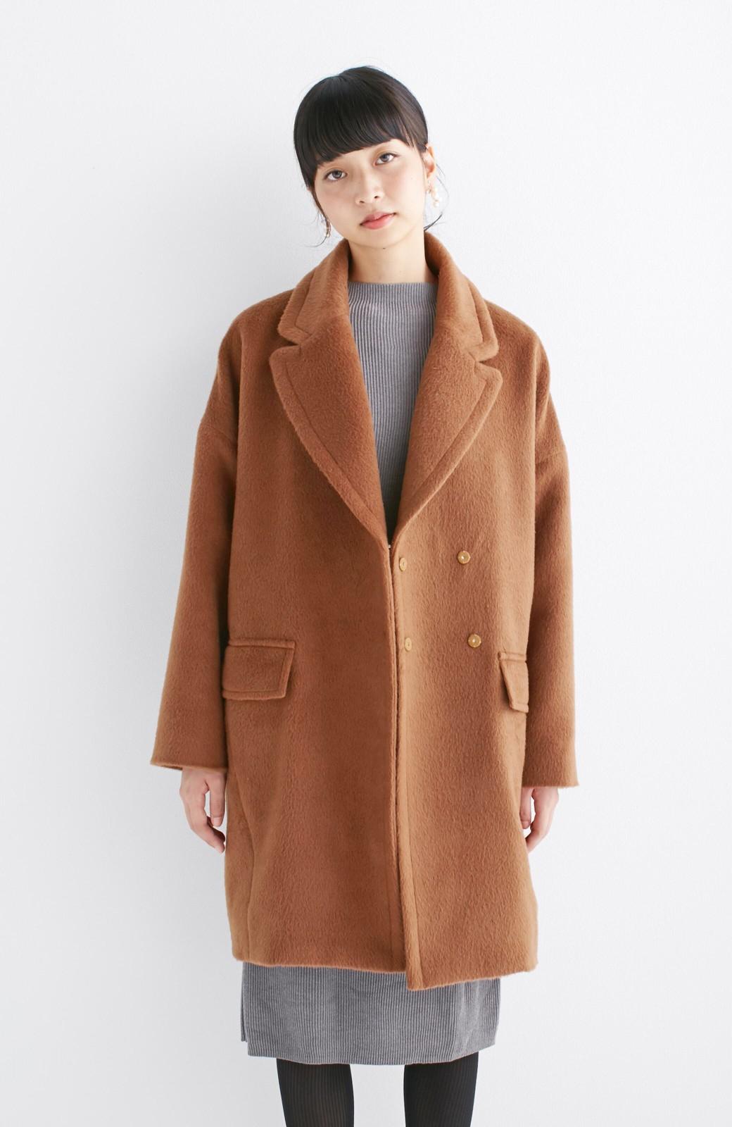 エムトロワ 大きめ衿&ビッグシルエットで華奢見せしたい、ウール混フェミニンコート <キャメル>の商品写真14