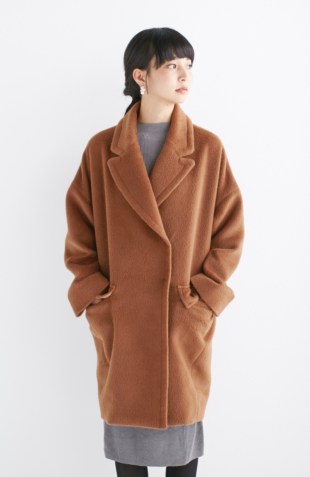 エムトロワ 大きめ衿&ビッグシルエットで華奢見せしたい、ウール混フェミニンコート <キャメル>の商品写真15