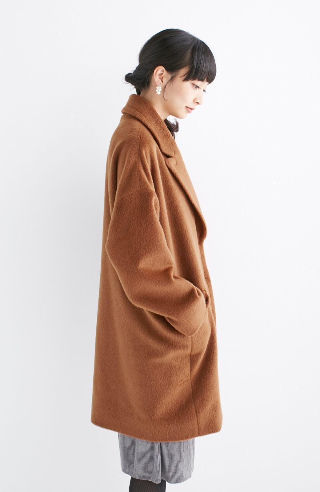 エムトロワ 大きめ衿&ビッグシルエットで華奢見せしたい、ウール混フェミニンコート <キャメル>の商品写真16