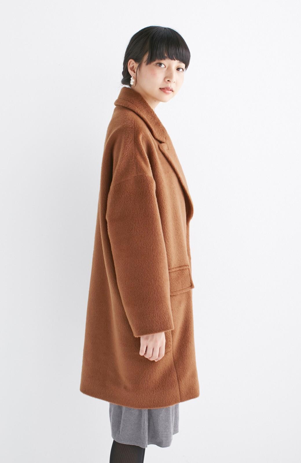 エムトロワ 大きめ衿&ビッグシルエットで華奢見せしたい、ウール混フェミニンコート <キャメル>の商品写真17