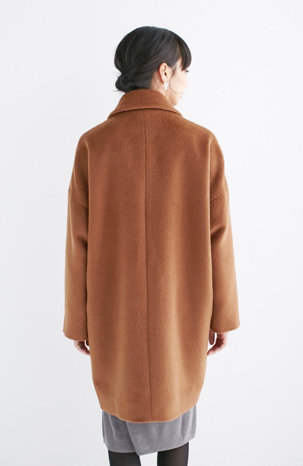 エムトロワ 大きめ衿&ビッグシルエットで華奢見せしたい、ウール混フェミニンコート <キャメル>の商品写真18