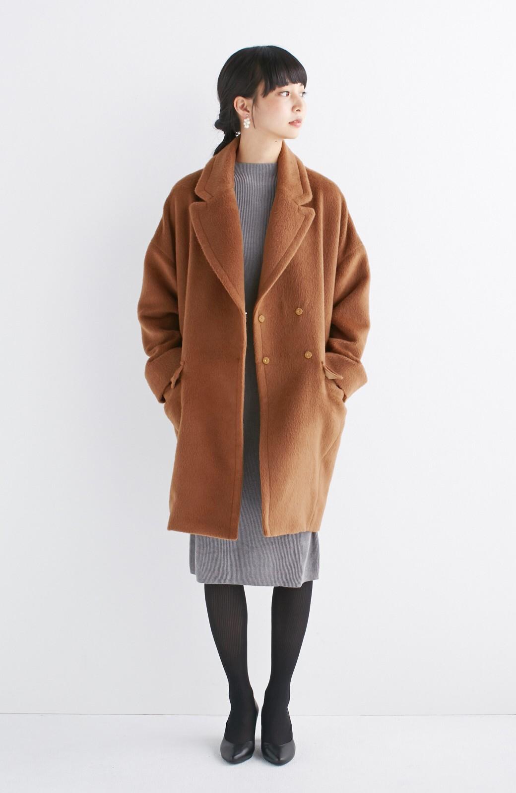 エムトロワ 大きめ衿&ビッグシルエットで華奢見せしたい、ウール混フェミニンコート <キャメル>の商品写真6