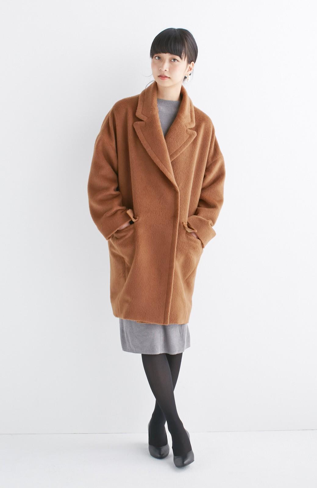 エムトロワ 大きめ衿&ビッグシルエットで華奢見せしたい、ウール混フェミニンコート <キャメル>の商品写真7