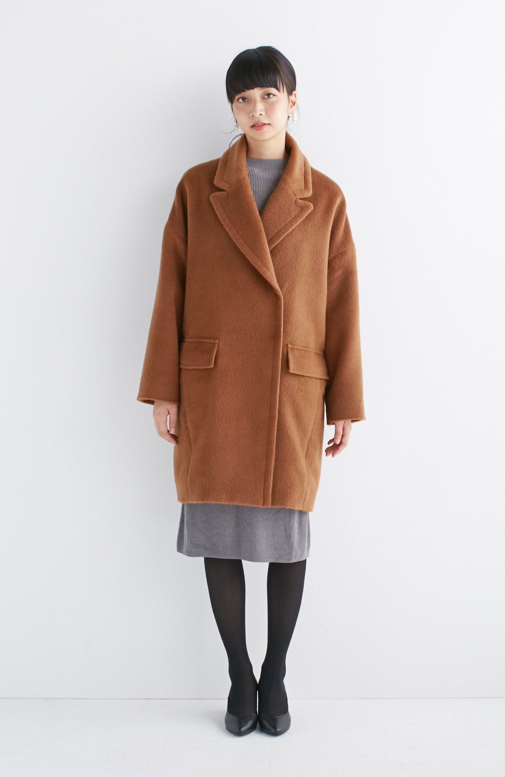 エムトロワ 大きめ衿&ビッグシルエットで華奢見せしたい、ウール混フェミニンコート <キャメル>の商品写真8