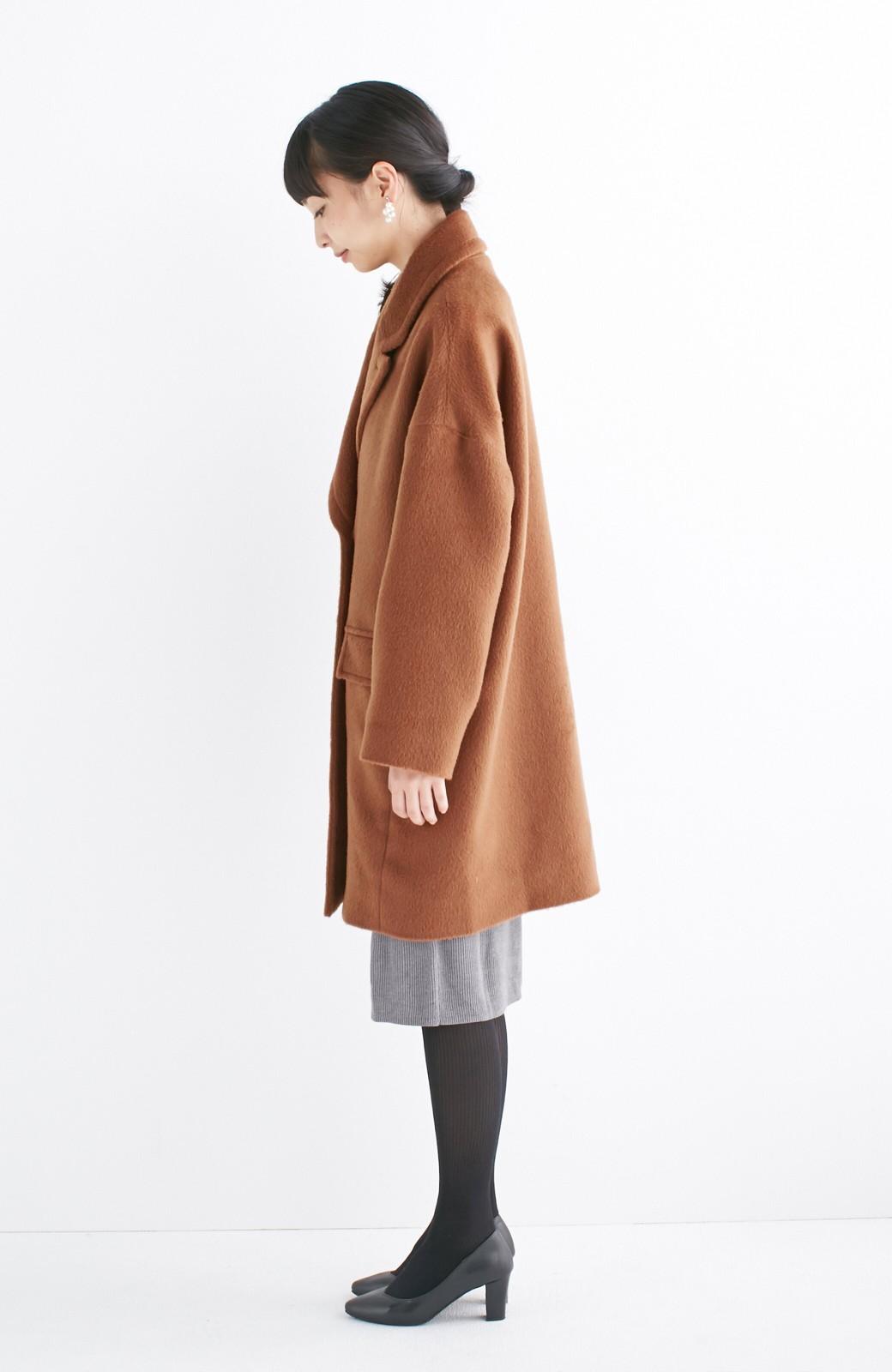 エムトロワ 大きめ衿&ビッグシルエットで華奢見せしたい、ウール混フェミニンコート <キャメル>の商品写真10