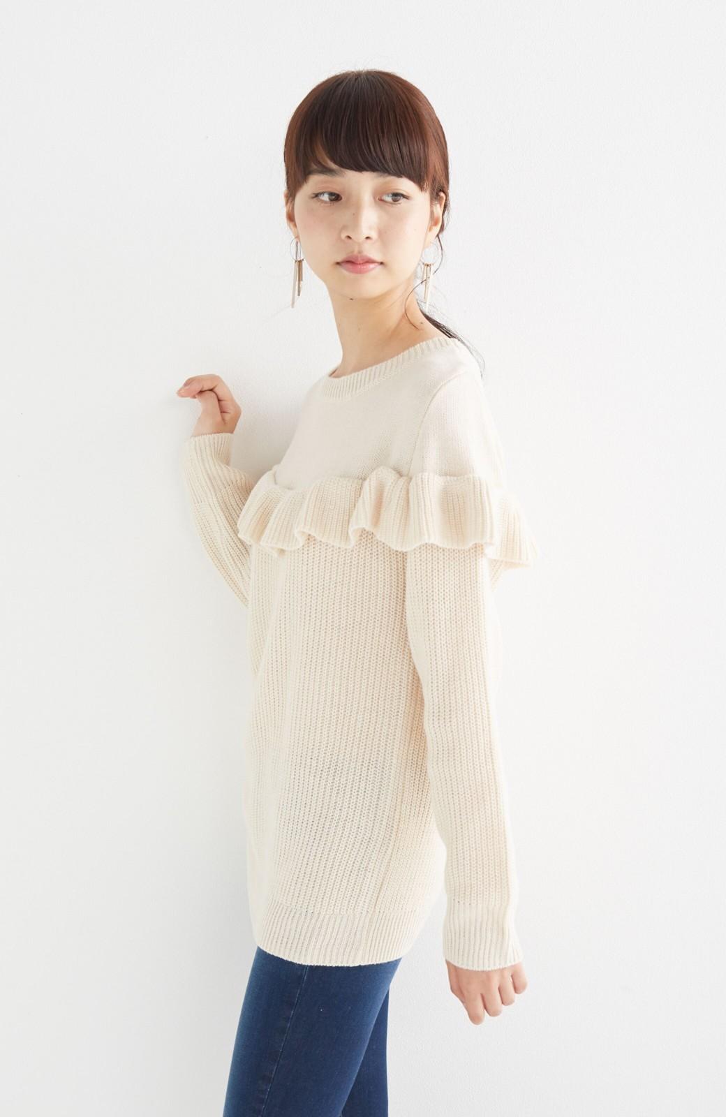 nusy お家で洗えてきれいがつづく あぜ編みづかいフリルニット <オフホワイト>の商品写真10