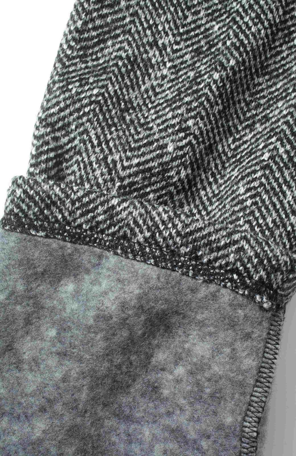 SHE THROUGH SEA タイツなしでもあったかい ヘリンボーンプリントの裏起毛きれい見えパンツ <ブラック>の商品写真2