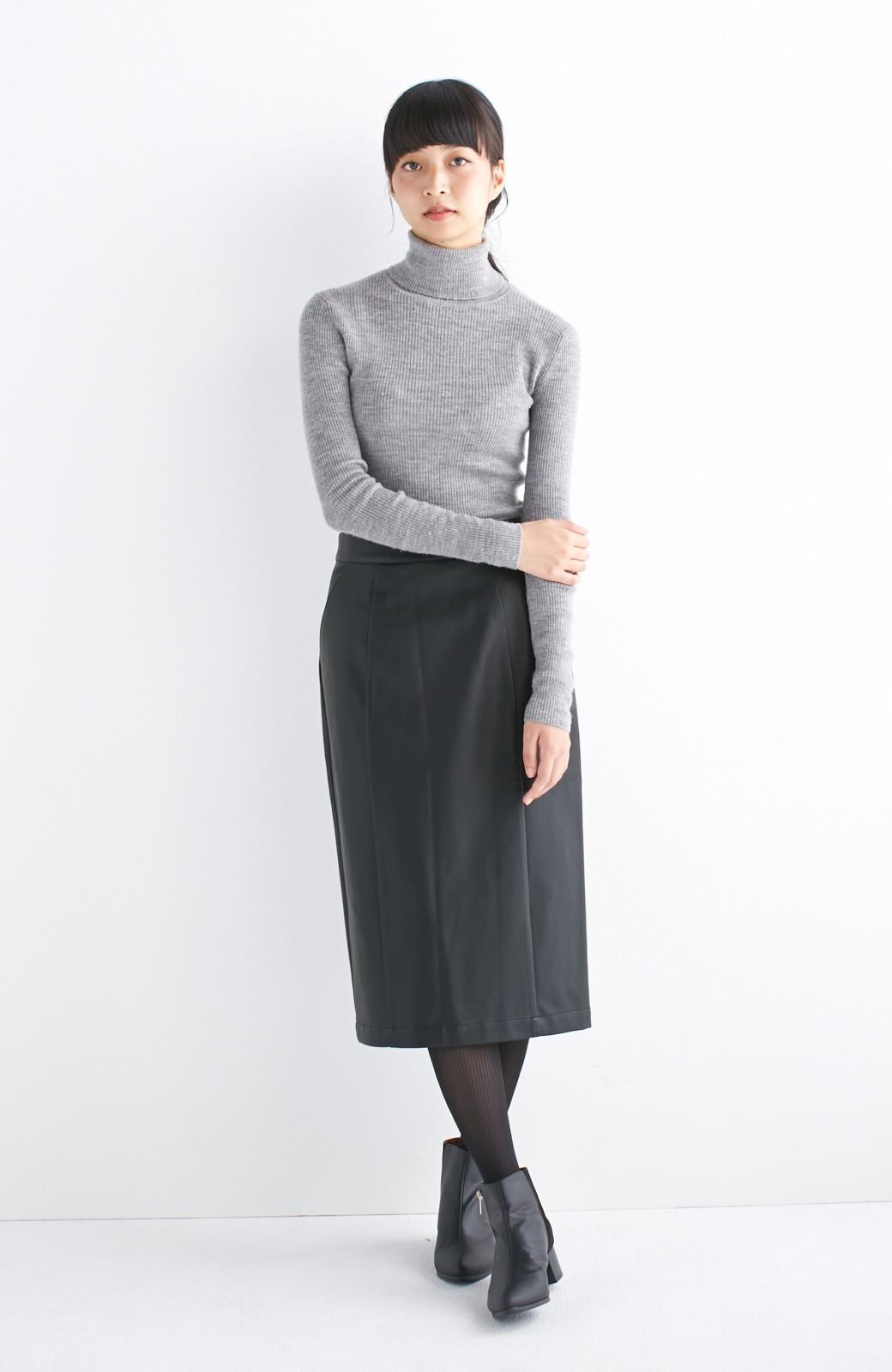 haco! どんなにカジュアルなものを合わせても女らしくなれる、フェイクレザーのタイトスカート by que made me <ブラック>の商品写真6