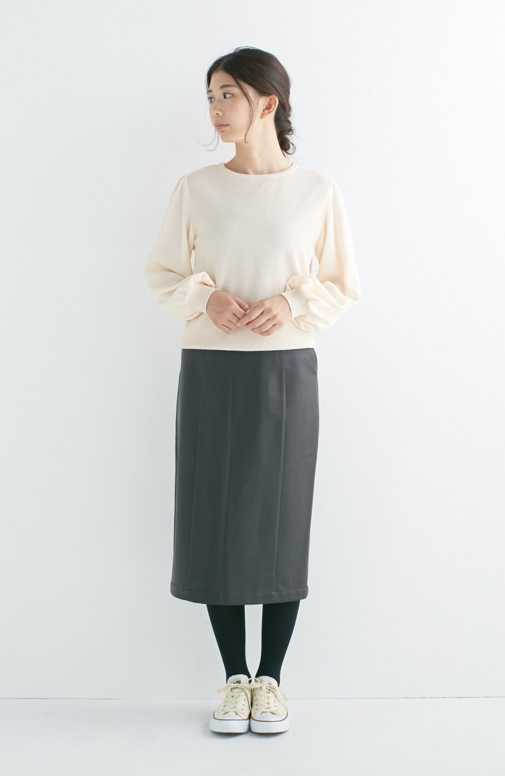 haco! どんなにカジュアルなものを合わせても女らしくなれる、フェイクレザーのタイトスカート by que made me <ブラック>の商品写真11