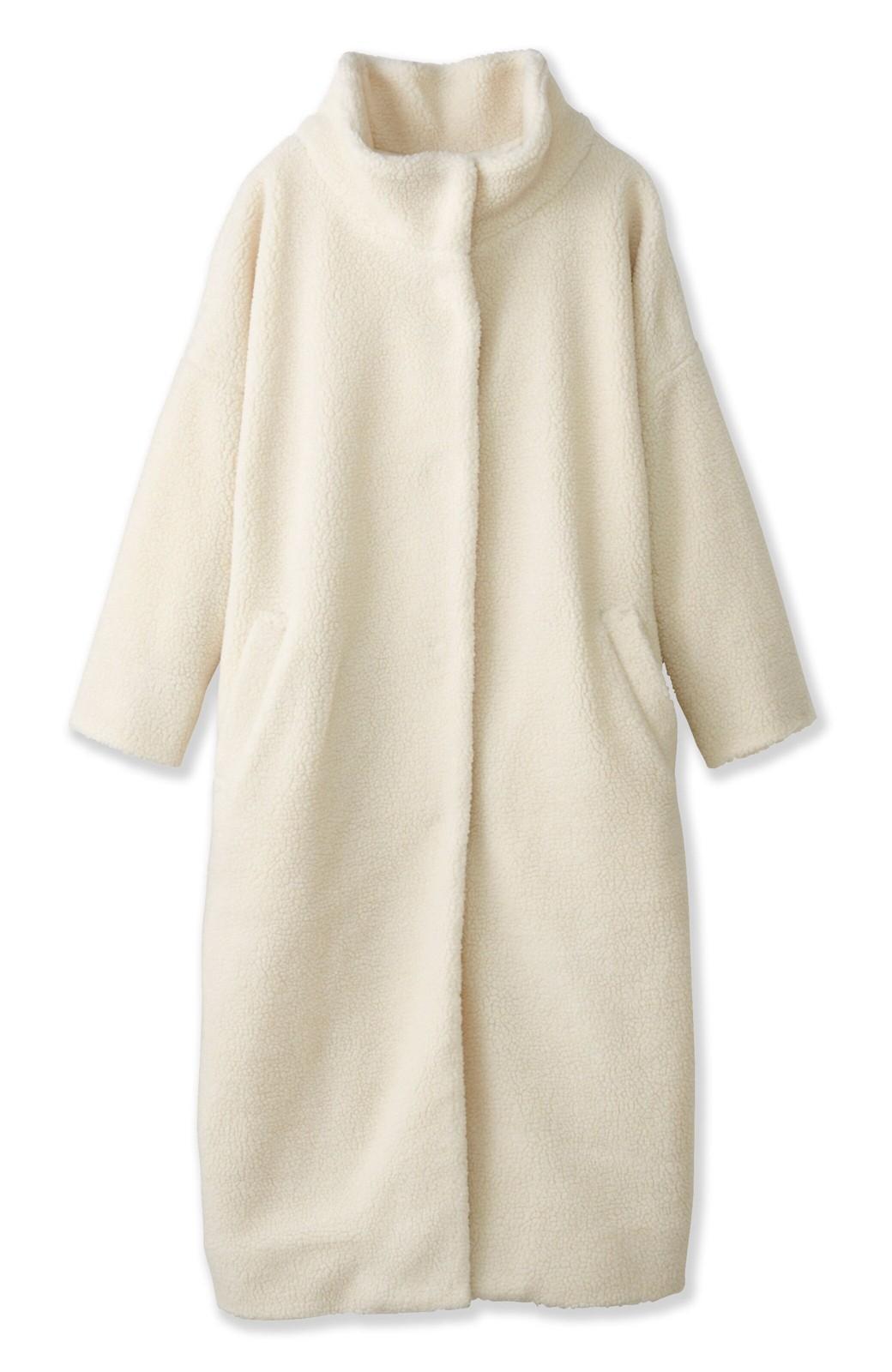 nusy これ1枚でぬくぬくのスタンド衿ゆったりボアコート <アイボリー>の商品写真1