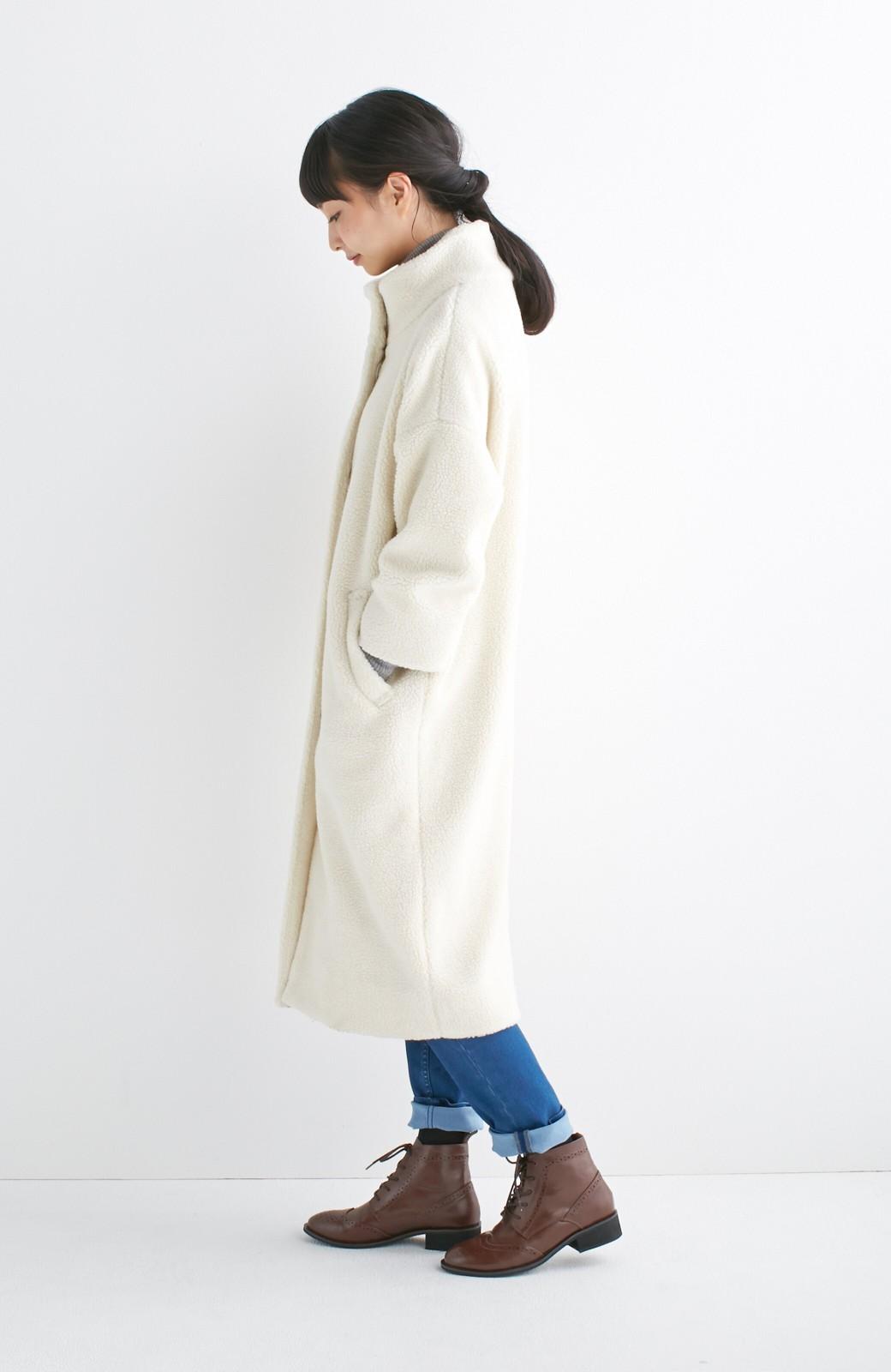 nusy これ1枚でぬくぬくのスタンド衿ゆったりボアコート <アイボリー>の商品写真2
