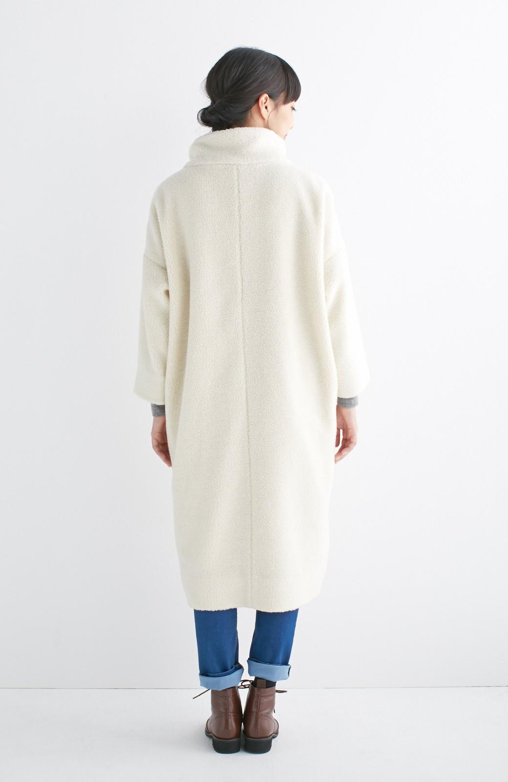 nusy これ1枚でぬくぬくのスタンド衿ゆったりボアコート <アイボリー>の商品写真10