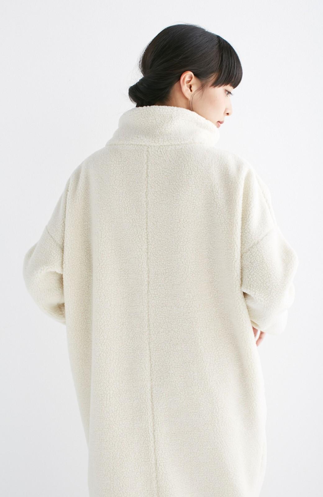 nusy これ1枚でぬくぬくのスタンド衿ゆったりボアコート <アイボリー>の商品写真13