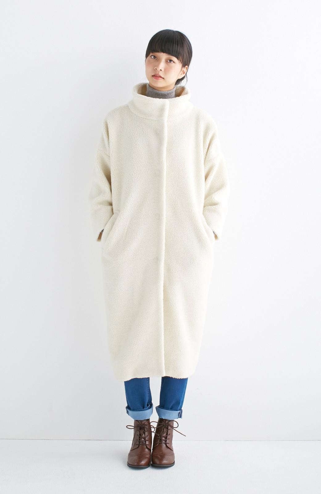 nusy これ1枚でぬくぬくのスタンド衿ゆったりボアコート <アイボリー>の商品写真6