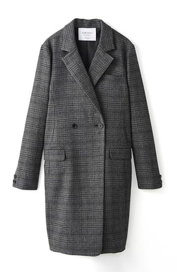 エムトロワ さっと羽織るだけで女らしくてかっこいい、グレンチェックコート <グレー>の商品写真