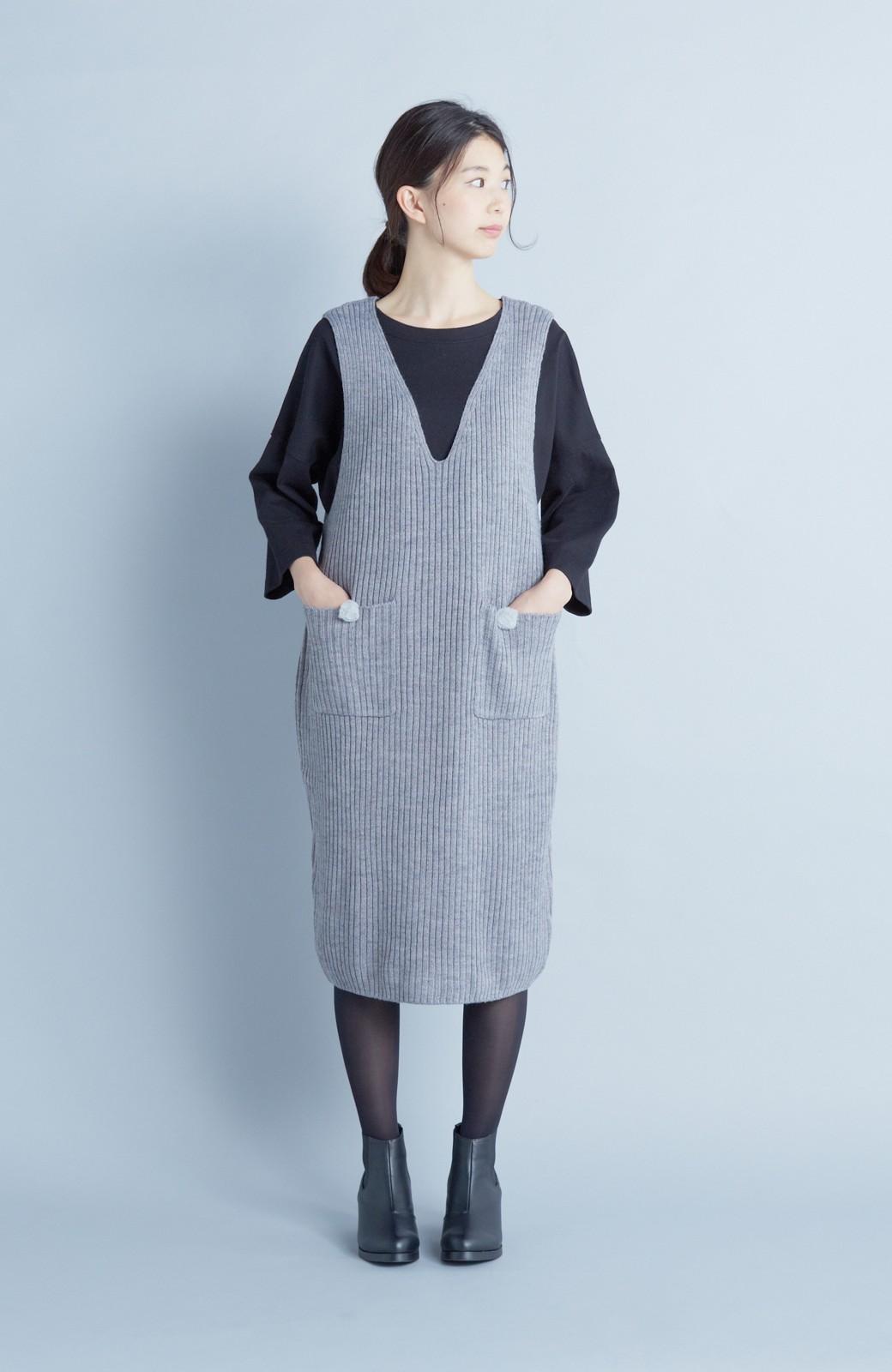haco! うさぎシルエットのアンチピリングニットジャンパースカート <グレー>の商品写真1