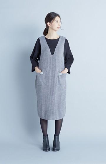 haco! うさぎシルエットのアンチピリングニットジャンパースカート <グレー>の商品写真
