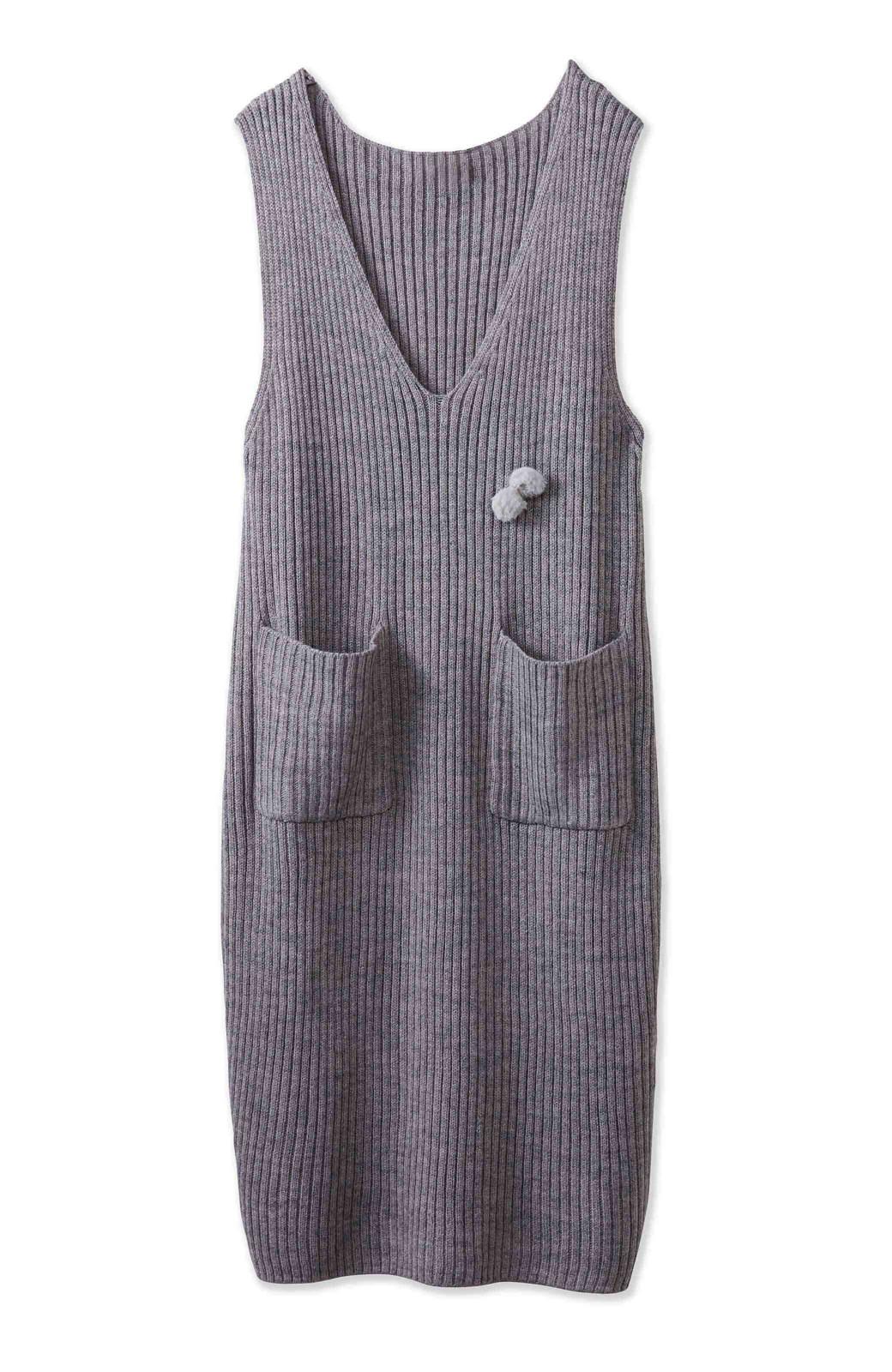 うさぎシルエットのアンチピリングニットジャンパースカート <グレー>の商品写真