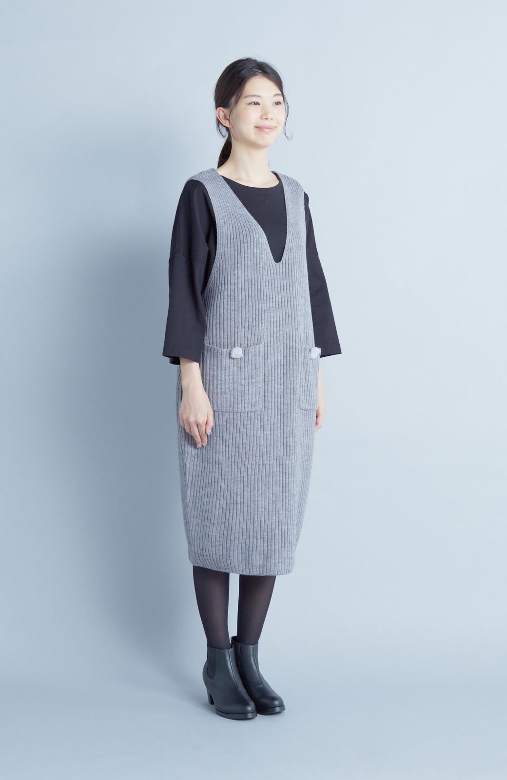 haco! うさぎシルエットのアンチピリングニットジャンパースカート <グレー>の商品写真3
