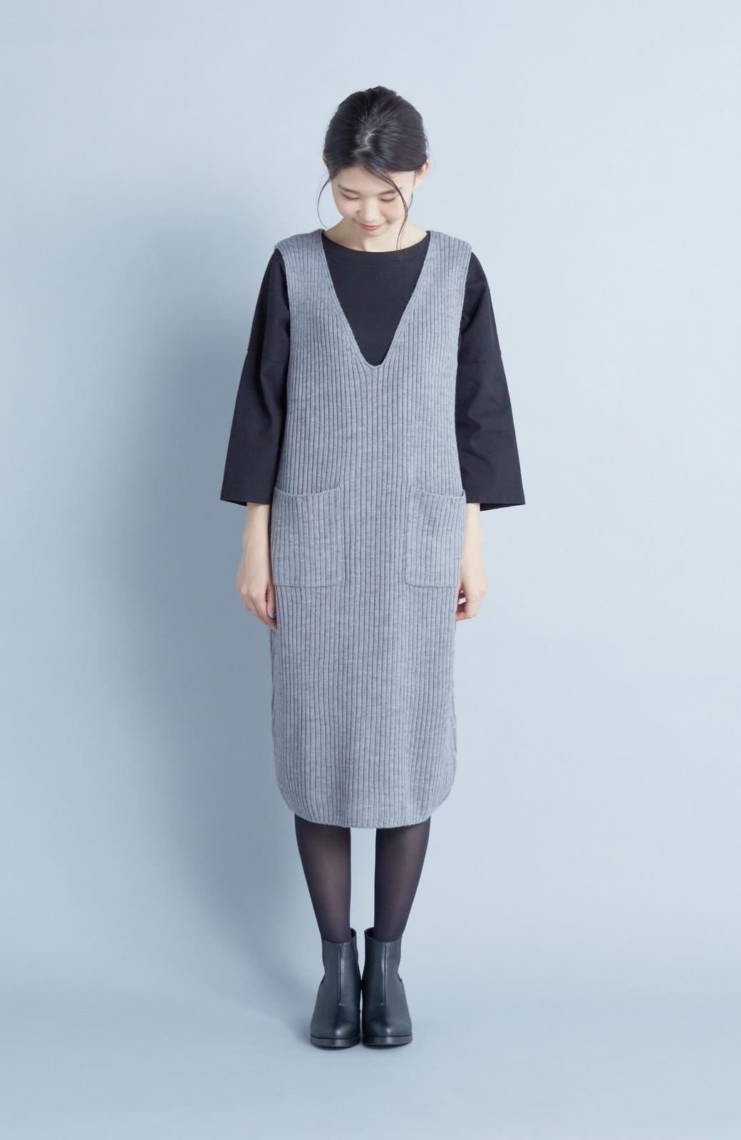 haco! うさぎシルエットのアンチピリングニットジャンパースカート <グレー>の商品写真4