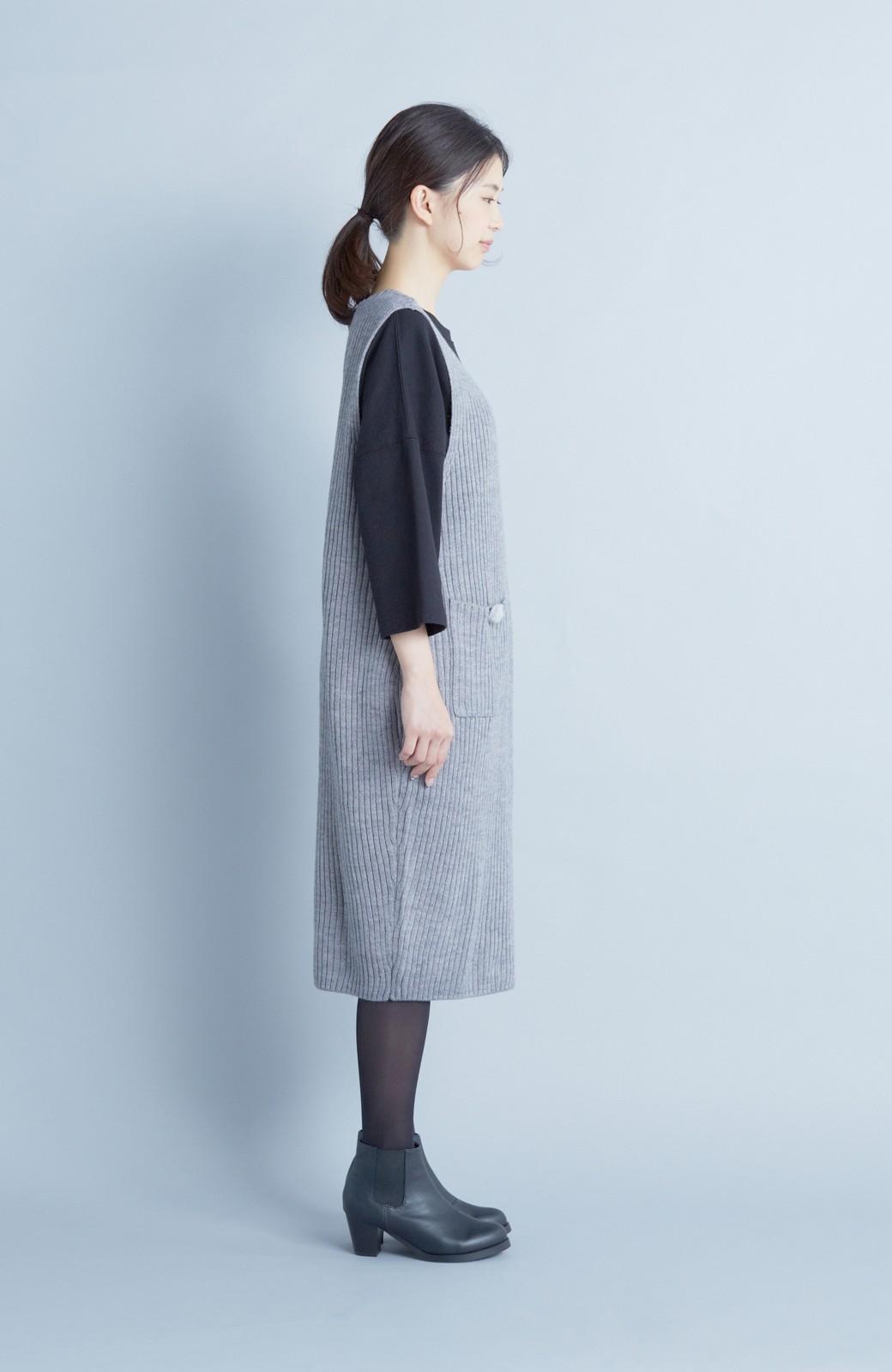 haco! うさぎシルエットのアンチピリングニットジャンパースカート <グレー>の商品写真5
