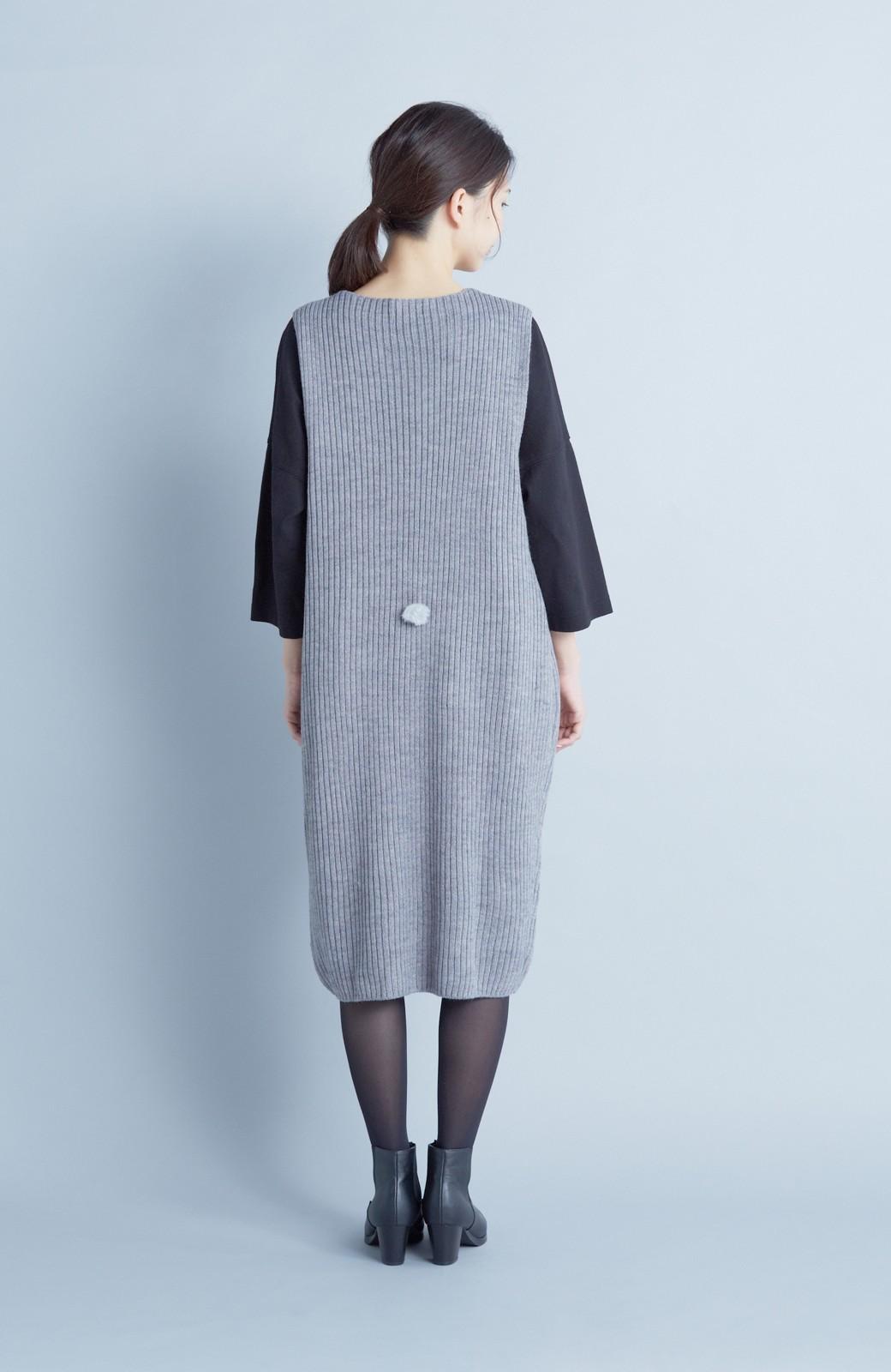 haco! うさぎシルエットのアンチピリングニットジャンパースカート <グレー>の商品写真6