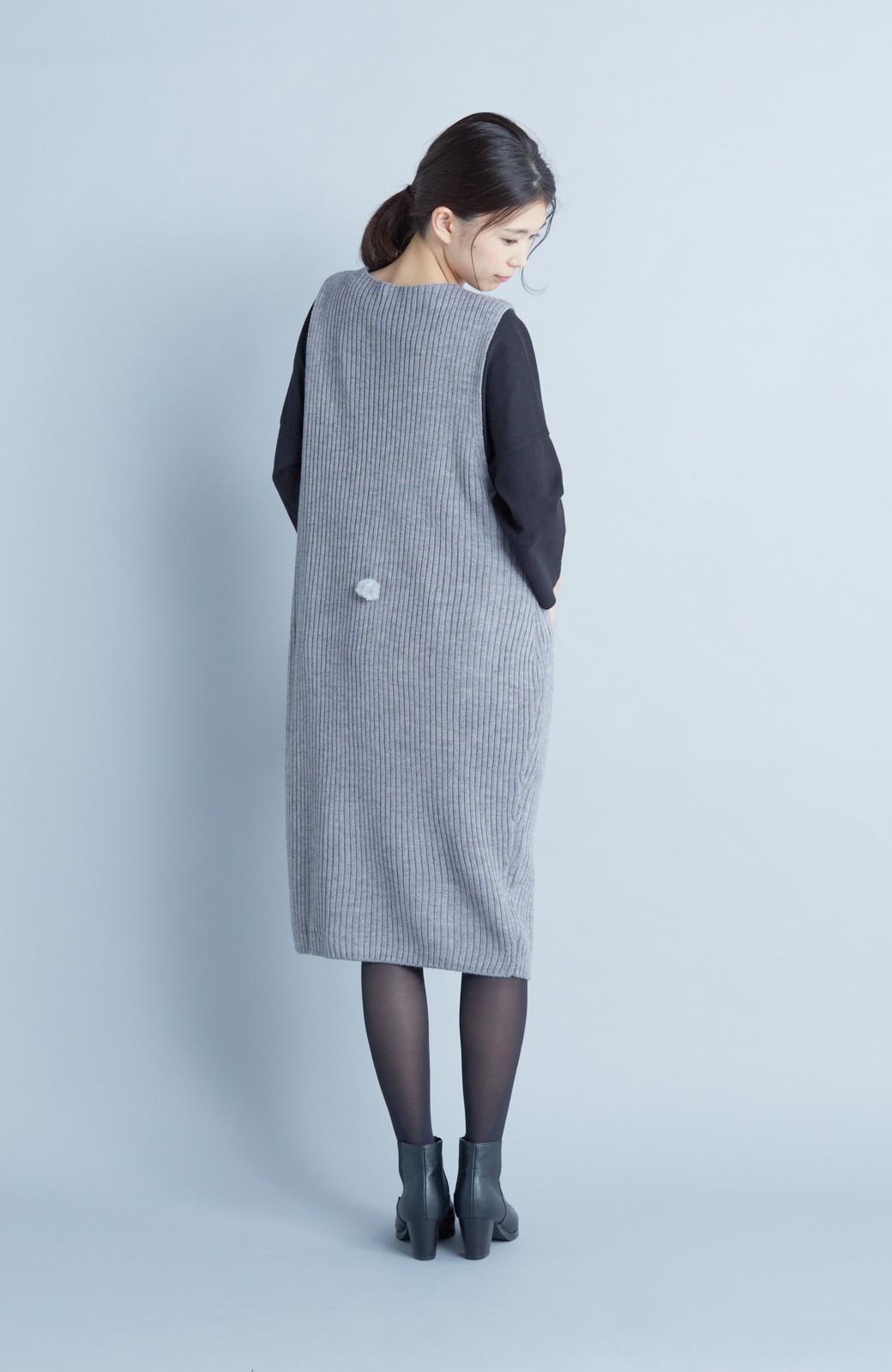 haco! うさぎシルエットのアンチピリングニットジャンパースカート <グレー>の商品写真7