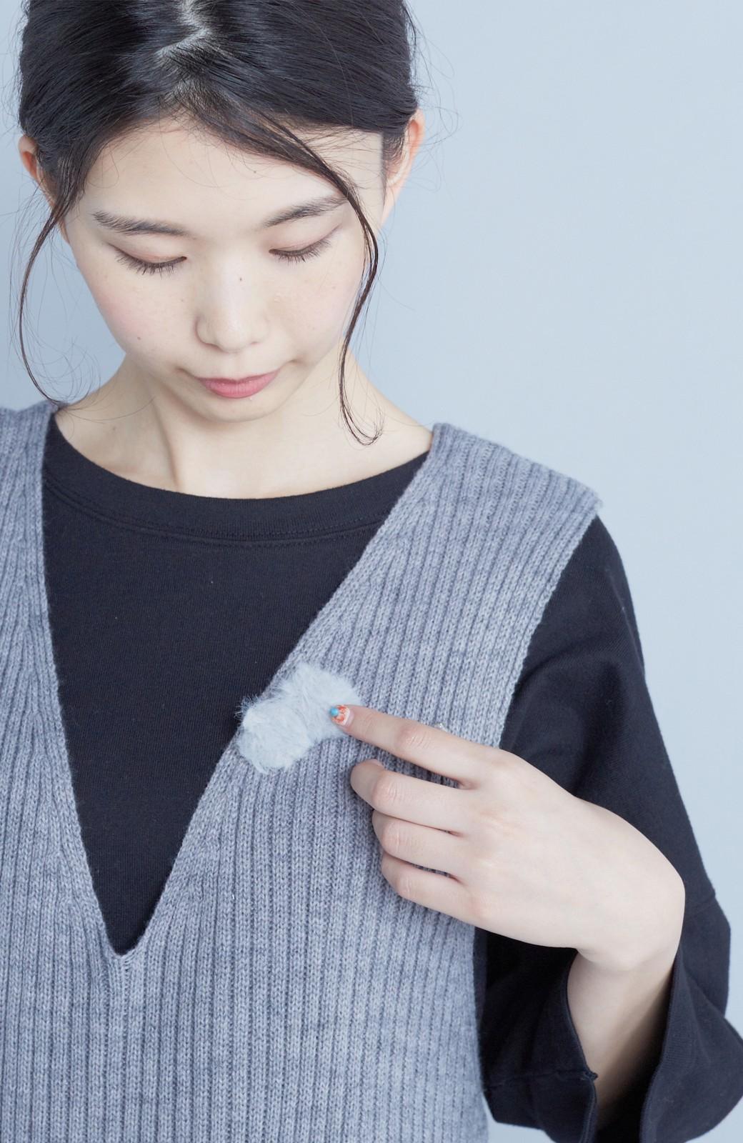 haco! うさぎシルエットのアンチピリングニットジャンパースカート <グレー>の商品写真8