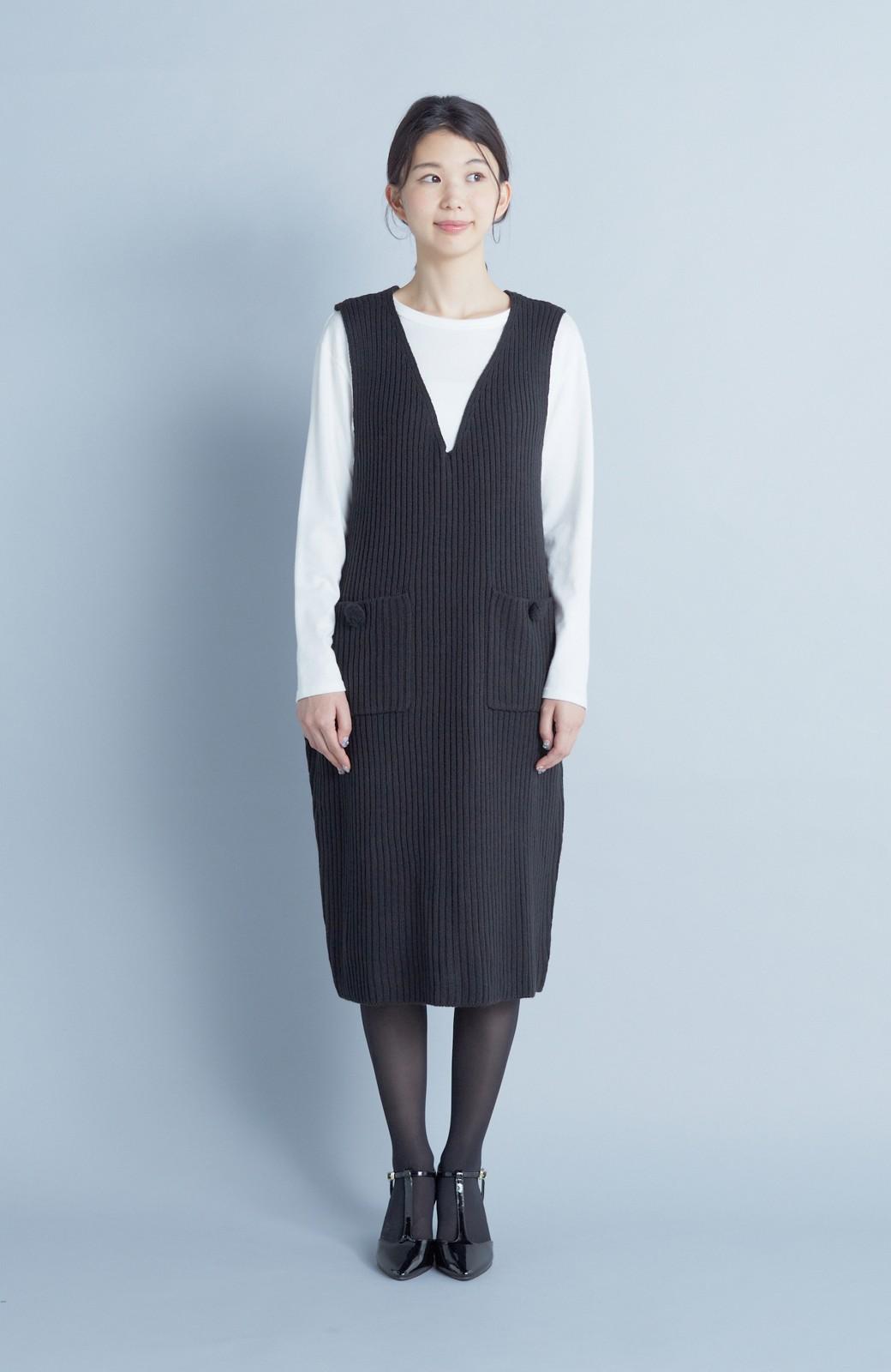 haco! うさぎシルエットのアンチピリングニットジャンパースカート <ブラック>の商品写真1