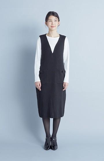 haco! うさぎシルエットのアンチピリングニットジャンパースカート <ブラック>の商品写真