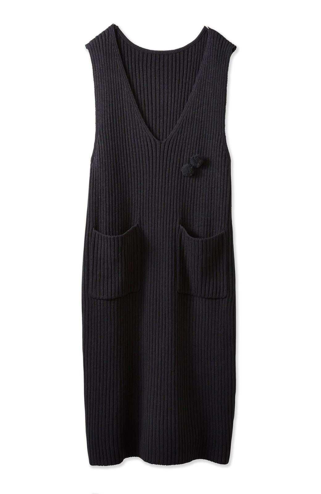 haco! うさぎシルエットのアンチピリングニットジャンパースカート <ブラック>の商品写真2