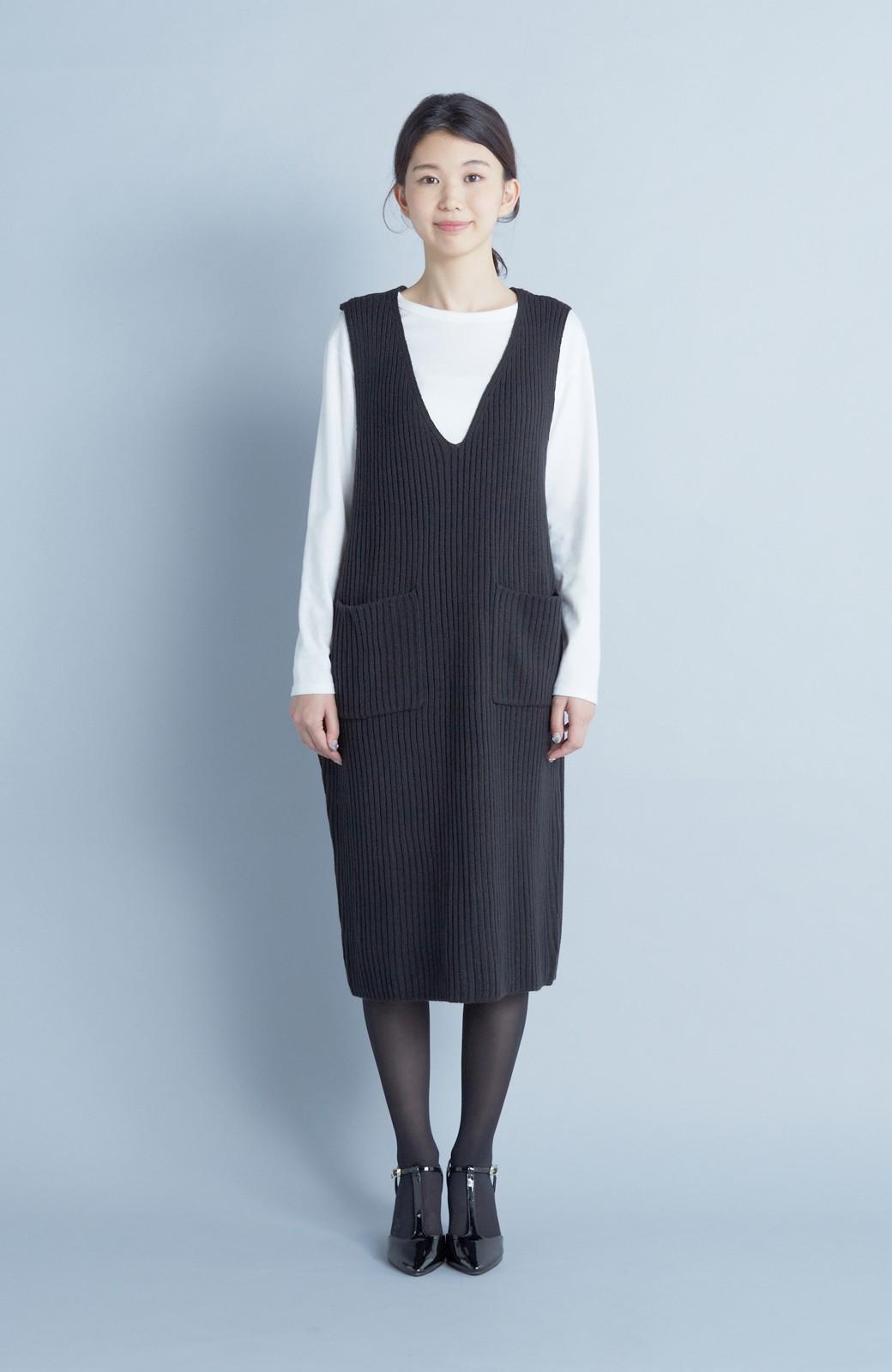 haco! うさぎシルエットのアンチピリングニットジャンパースカート <ブラック>の商品写真3