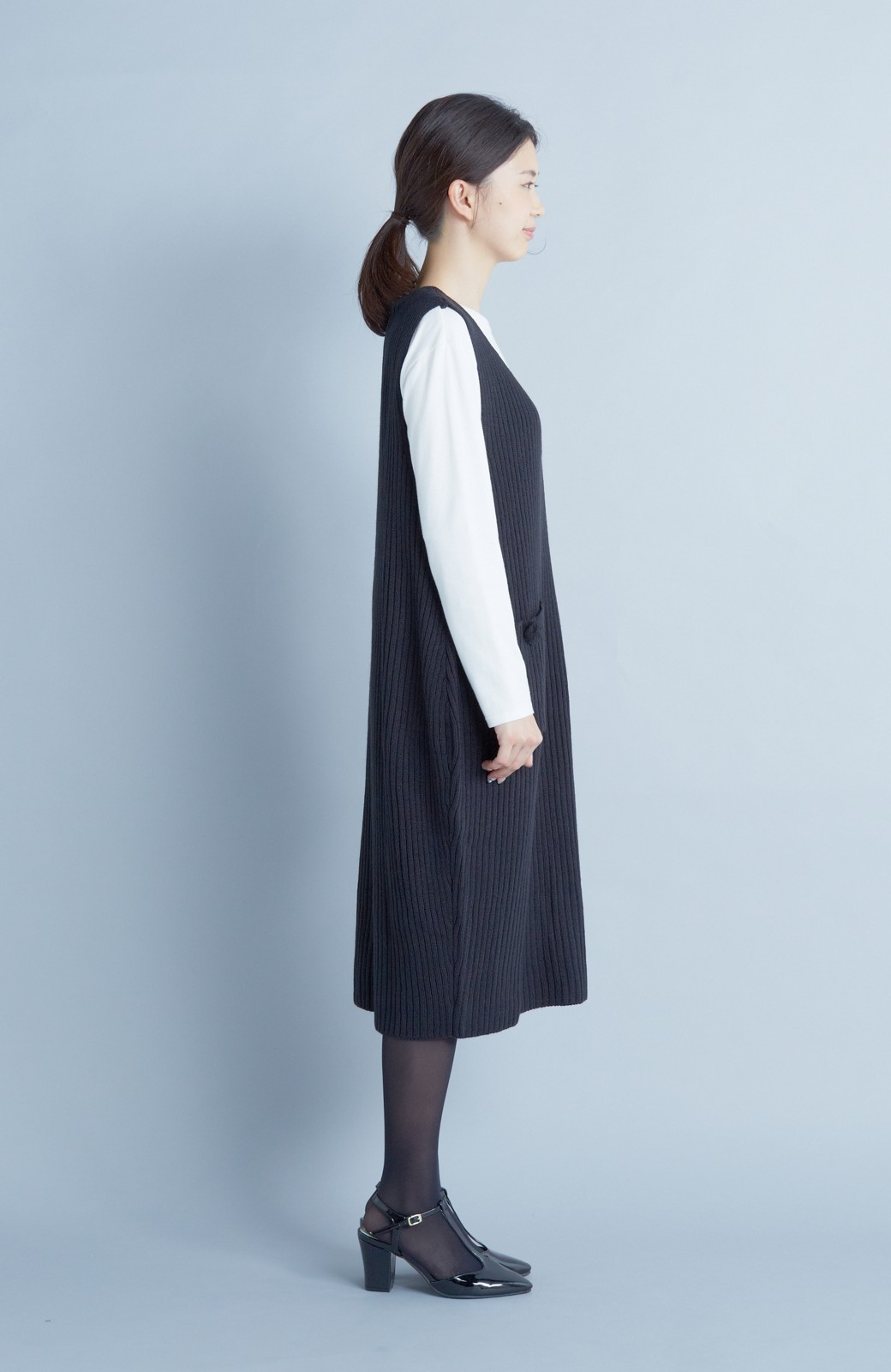 haco! うさぎシルエットのアンチピリングニットジャンパースカート <ブラック>の商品写真4