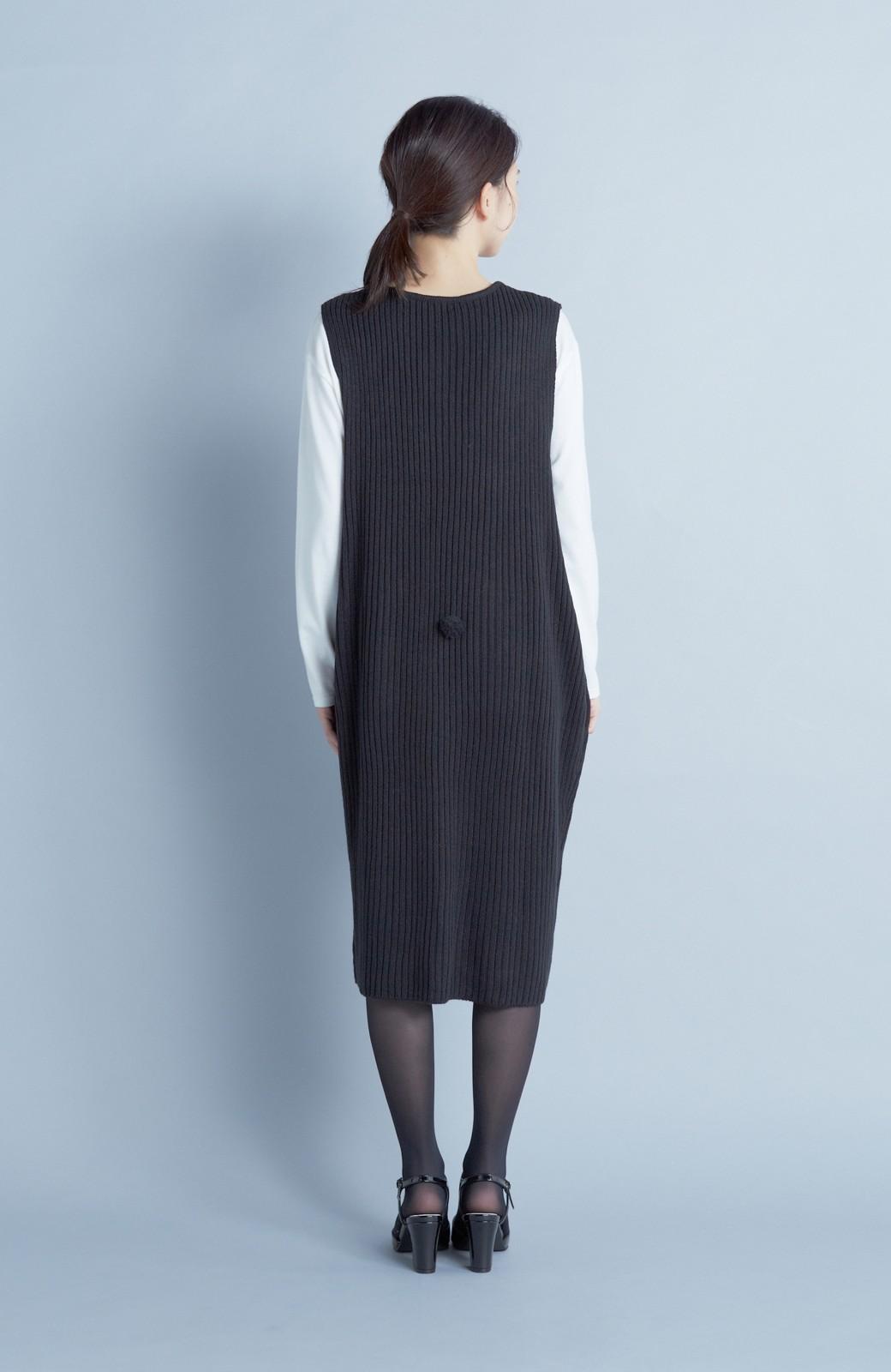 haco! うさぎシルエットのアンチピリングニットジャンパースカート <ブラック>の商品写真5