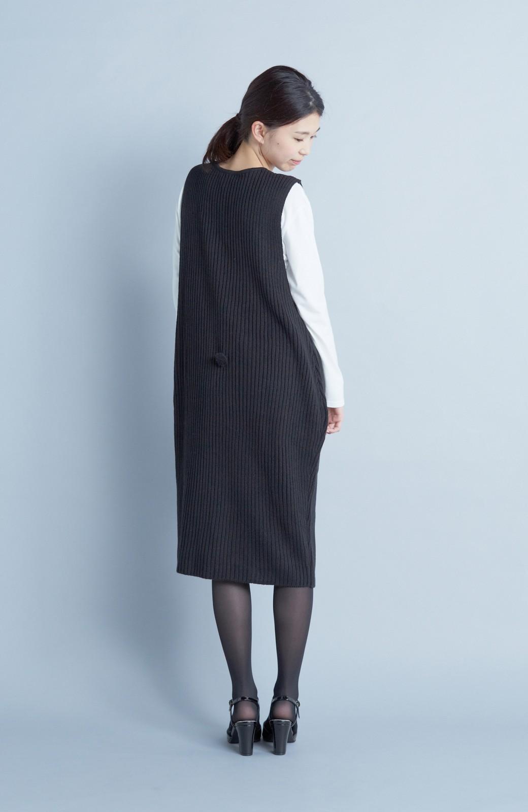 haco! うさぎシルエットのアンチピリングニットジャンパースカート <ブラック>の商品写真6