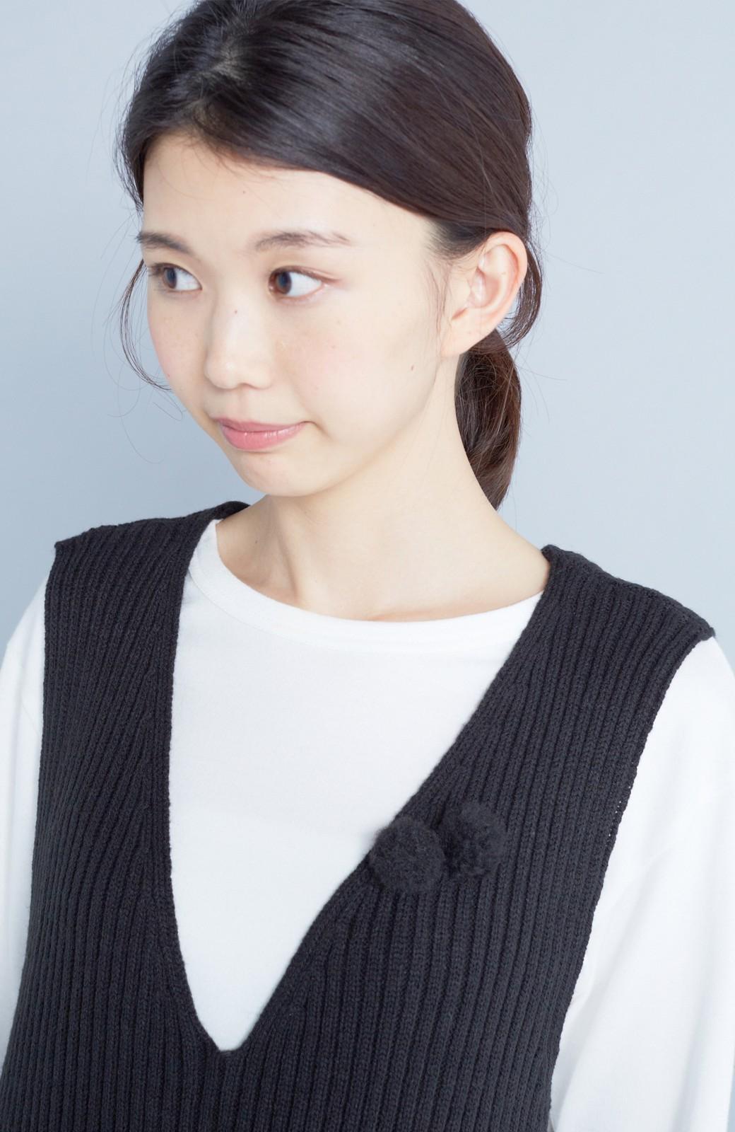 haco! うさぎシルエットのアンチピリングニットジャンパースカート <ブラック>の商品写真7