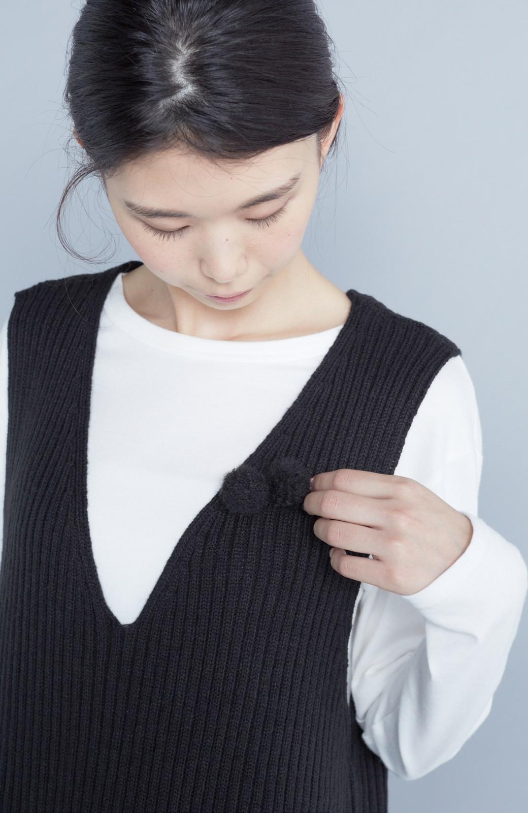 haco! うさぎシルエットのアンチピリングニットジャンパースカート <ブラック>の商品写真8