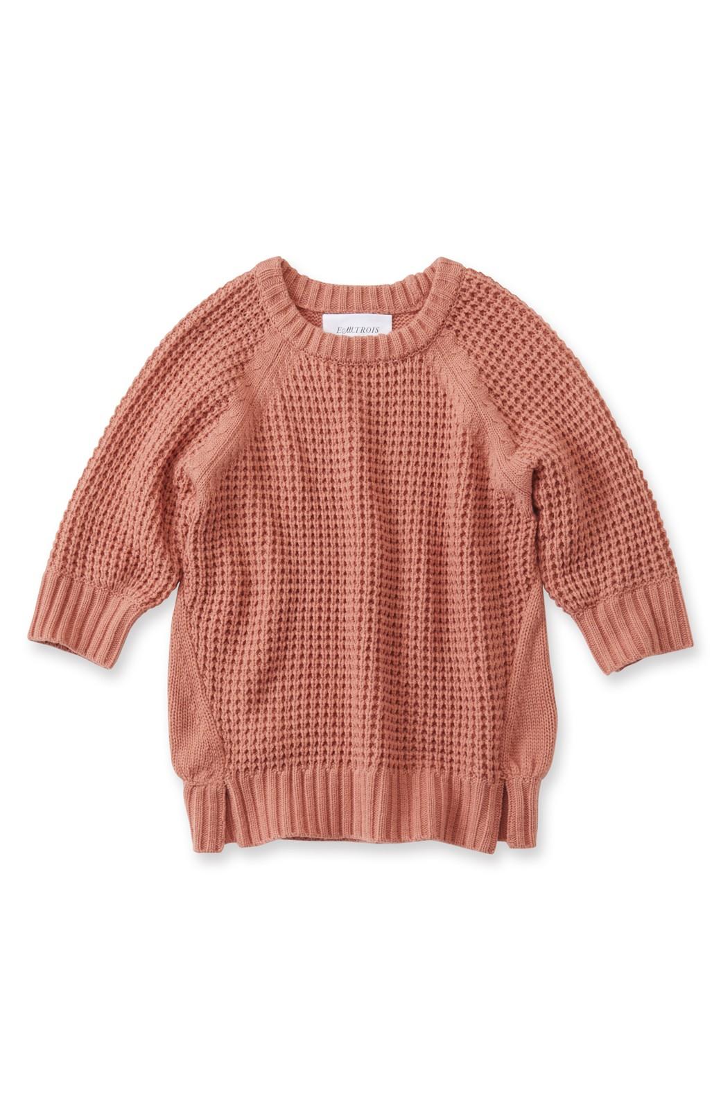 エムトロワ ワッフル編みがかわいいレディーニット<ピンク