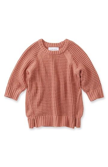 エムトロワ ワッフル編みがかわいいレディーニット <ピンク>の商品写真