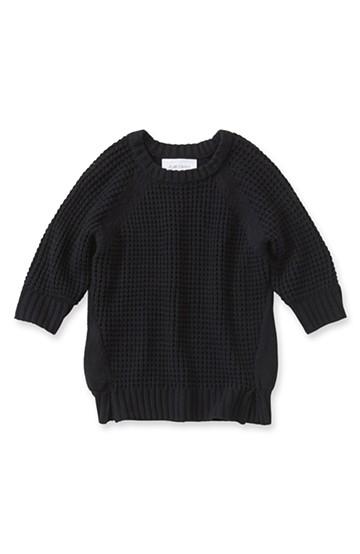 エムトロワ ワッフル編みがかわいいレディーニット <ブラック>の商品写真