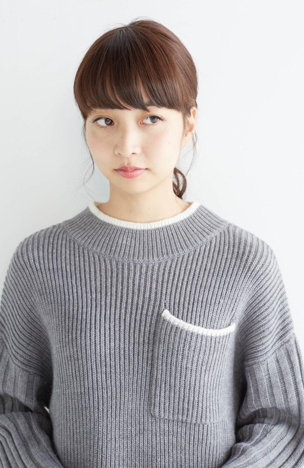 nusy 【mer11月号掲載】配色ラインがポイントのリブ編みニットアップ  <杢グレー>の商品写真22