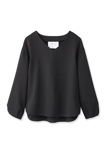 エムトロワ 簡単キレイ、ふんわり袖のTブラウス <ブラック>の商品写真