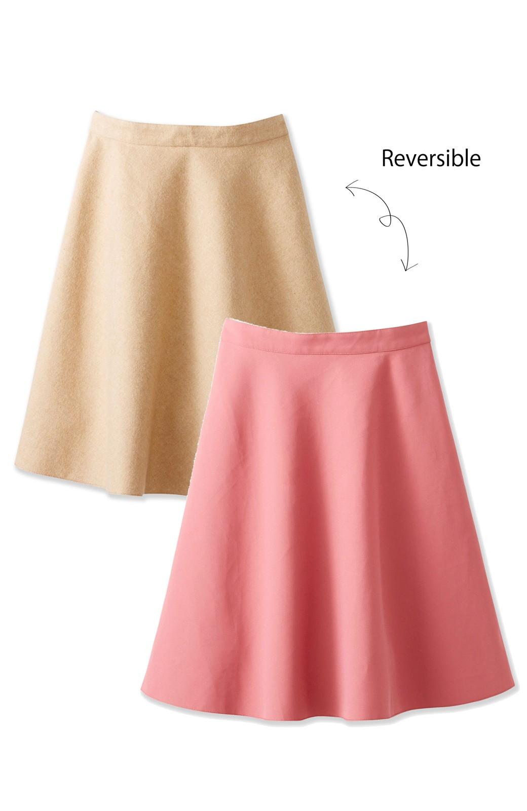 エムトロワ 【mer1月号掲載】きれい色もあったかも楽しめるリバーシブルフレアースカート <ベージュ>の商品写真1